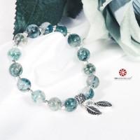 Vòng tay Băng Ngọc Thủy Tảo phối charm bạc