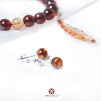 Hoa tai bạc thái Hổ Phách - Amber