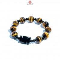 Vòng Chuỗi Mân Côi đá Mắt Hổ Vàng 10mm phối Obsidian