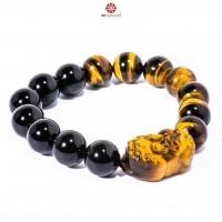 Vòng tay Tỳ Hưu đá Mắt Hổ vàng phối Obsidian 12mm