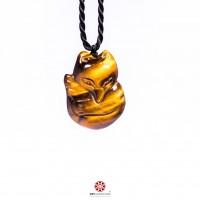 Mặt dây chuyền Hồ Ly dáng tròn đá Mắt hổ vàng