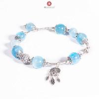 Lắc tay Hải Lam Ngọc - Aquamarine phối Charm bạc 925