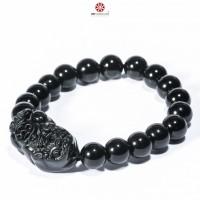 Vòng tay đá Obsidian bóng 08mm phối Tỳ Hưu