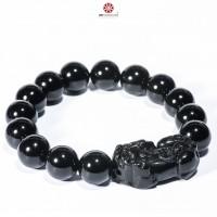 Vòng tay đá Obsidian bóng 10mm phối Tỳ Hưu