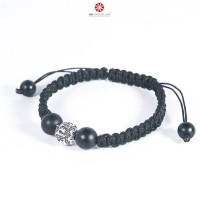 Vòng tay Mala Obsidian charm Lục tự Đại Minh Chú BMLOBS08