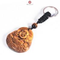 Móc khóa Phật Di Lặc đá Mắt Hổ Vàng size trung