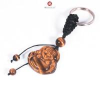 Móc khóa Phật Di Lặc đá Mắt Hổ Vàng size nhỏ