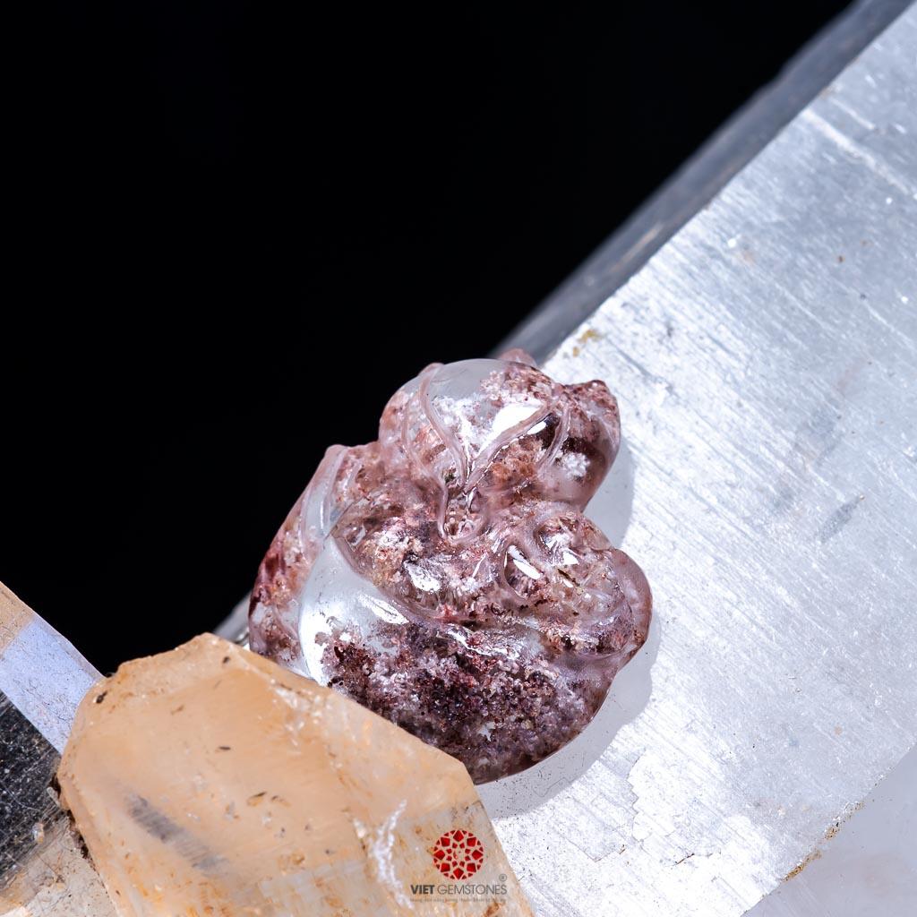 Mặt dây chuyền Hồ Ly ôm Hoa Mẫu Đơn Thạch Anh Ưu Linh Đa Sắc PDFGQ01