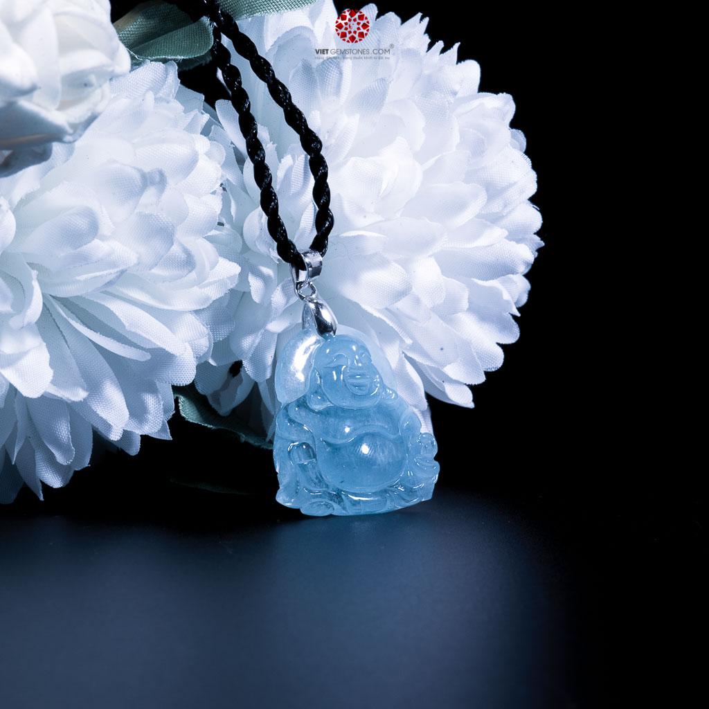 Mặt dây chuyền Phật Di Lặc aquamarine, hải lam ngọc